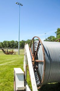 Underground wiring equipment at baseball field