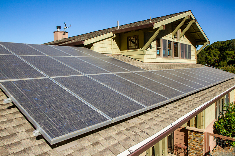 Solar panels on residential home