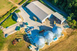 Aerial of modern farm