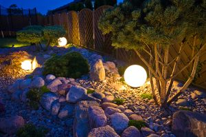 Exterior lighting in yard